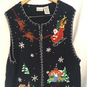 White stag detailed Christmas Vest plus size 22W